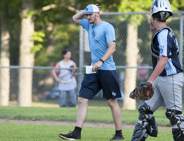 The SB Tides lost to the Overlook Black Sox in Nutmeg Games baseball on Friday at Stanley Quarter Park. Assistant Coach Alex Smith. | Wesley Bunnell | Staff