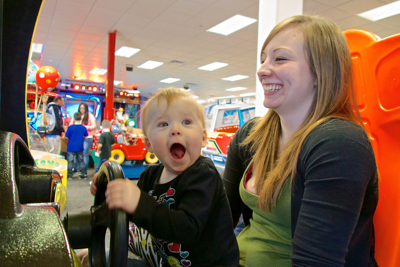 Birthday Party frenzy at Chuck E. Cheese's, Makenzie & Mom