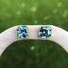 8.41ctw Blue Zircon Asscher Cut Bezel Earrings 18