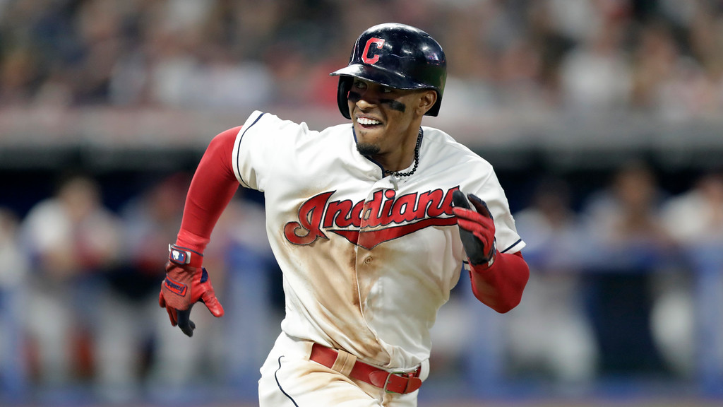 . Cleveland Indians\' Francisco Lindor runs out a ground ball in the seventh inning of a baseball game against the New York Yankees, Thursday, July 12, 2018, in Cleveland. (AP Photo/Tony Dejak)
