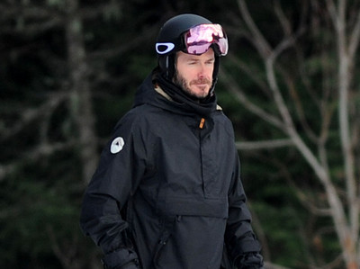 EXC: David Beckham Snowboarding in Whistler, Canada
