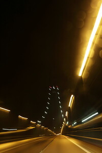 Driving over a brisge at night