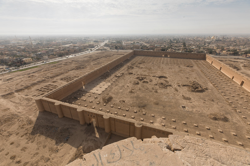 Looking down on the remains of the Great Mosque of Samarra from the top of Malwiya Minaret.