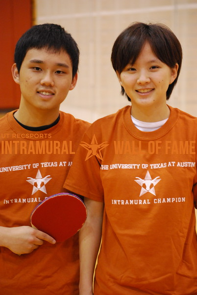 TABLE TENNIS Coed Doubles Champion  Justin Chen and Diane Lee