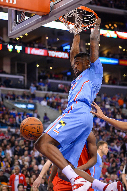 . Clippers� DeAndre Jordan slams in two points during first half action at Staples Center Sunday.  ( Photo by David Crane/Los Angeles Daily News )