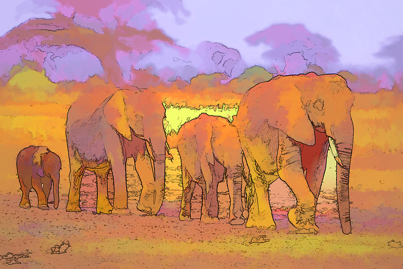 Colorful abstract photograph painting of a group of elephants walking through the African plains.