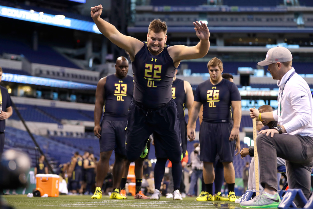 . Vanderbilt offensive lineman William Holden runs a drill at the NFL football scouting combine Friday, March 3, 2017, in Indianapolis. (AP Photo/David J. Phillip)