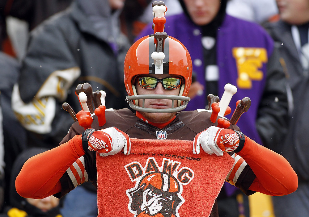 . A Cleveland Browns fan looks on during the game against the Pittsburgh Steelers on December 30, 2012 at Heinz Field in Pittsburgh, Pennsylvania.  (Photo by Justin K. Aller/Getty Images)