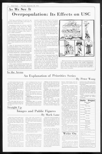 Daily Trojan, Vol. 66, No. 4, September 20, 1973