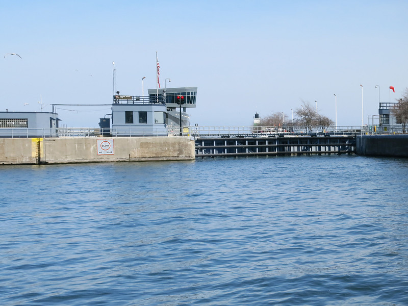 9-Chicago Harbor Lock: River this side, Lake Michigan other side.