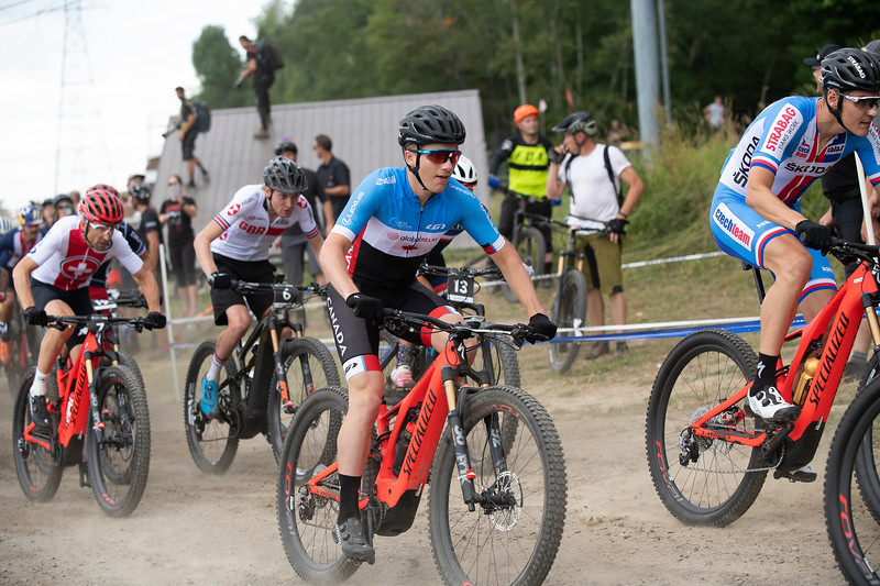 Start for  the first ever E-MTB Cross Country World Championships held at Mont-Ste-Anne, Quebec, Canada