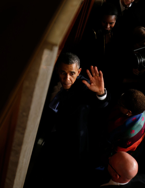 . President Barack Obama waves as he leaves after giving his the State of the Union address on Capitol Hill in Washington, Tuesday Jan. 28, 2014. (AP Photo/Charles Dharapak)