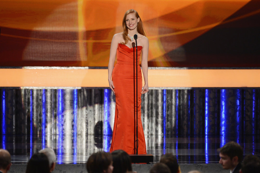 . Actress Jessica Chastain speaks onstage during the 19th Annual Screen Actors Guild Awards held at The Shrine Auditorium on January 27, 2013 in Los Angeles, California.  (Photo by Mark Davis/Getty Images)