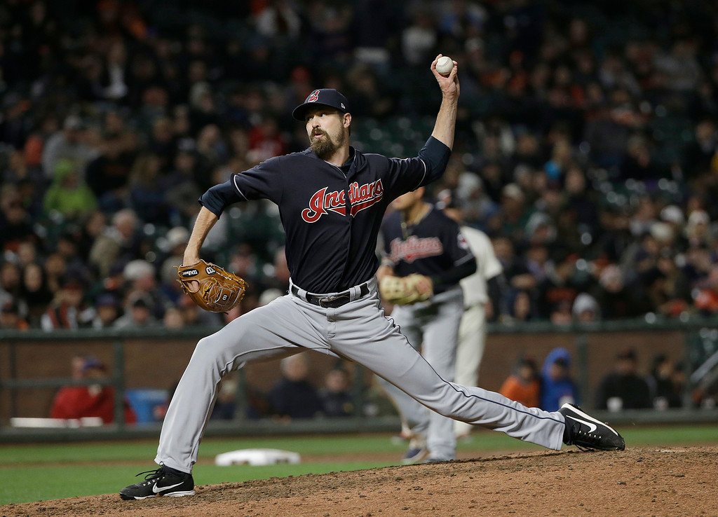. Cleveland Indians pitcher Andrew Miller throws during the eighth inning of a baseball game against the San Francisco Giants in San Francisco, Tuesday, July 18, 2017. The Giants won 2-1 in ten innings. (AP Photo/Jeff Chiu)