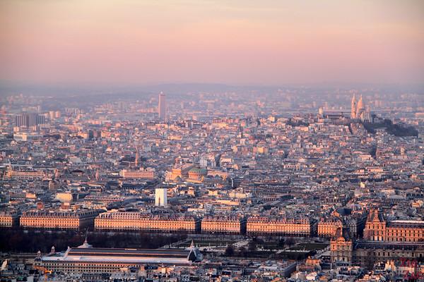 Sunset view Paris from Montparnasse Tower 1