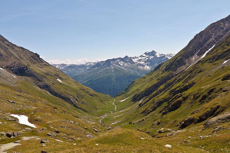 Uitzicht vanaf Eisseehütte het dal in.