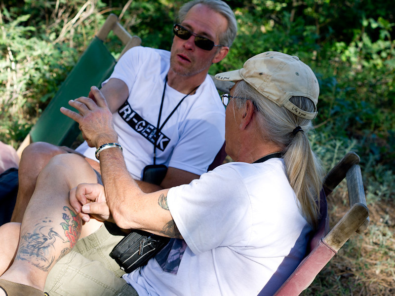 Relaxing at camp II Peter and Frank talk about cell phones (that mostly don't work on the trail).