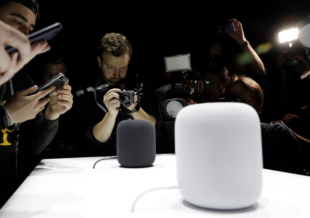 . The HomePod speaker is photographed in a a showroom during an announcement of new products at the Apple Worldwide Developers Conference Monday, June 5, 2017, in San Jose , Calif. (AP Photo/Marcio Jose Sanchez)