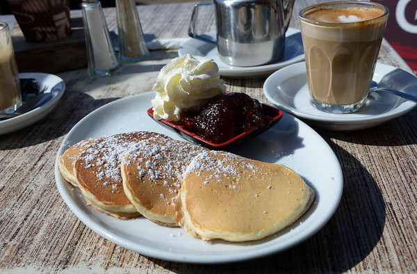 Pikelets, jam and cream for breakfast