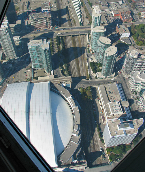 The Rogers Centre, formerly the Skydome. The roof opens on sunny days.