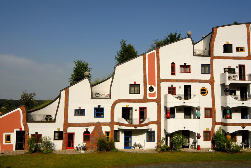 Steinhaus (Stone House) Building of Rogner Thermal Spa and Hotel Complex Designed by Friedensreich Hundertwasser, Bad Blumau (Austria).