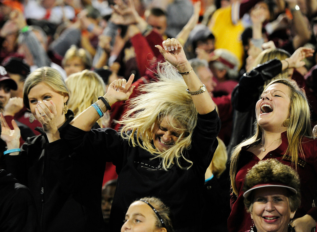 . Florida State fans celebrate a Florida State touchdown against Clemson during the first half of an NCAA college football game, Saturday, Oct. 19, 2013, in Clemson, S.C. (AP Photo/Richard Shiro)