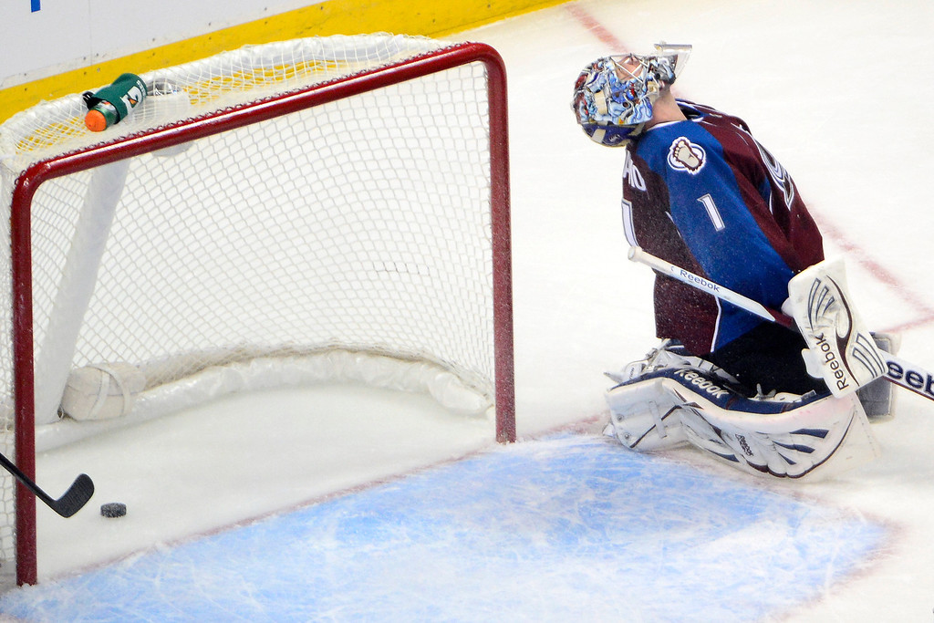 . Semyon Varlamov (1) of the Colorado Avalanche reacts to giving up a goal to Colin Wilson (33) of the Nashville Predators during the second period of action. The Colorado Avalanche take on the Nashville Predators at the Pepsi Center on February 18, 2013. (Photo By AAron Ontiveroz/The Denver Post)