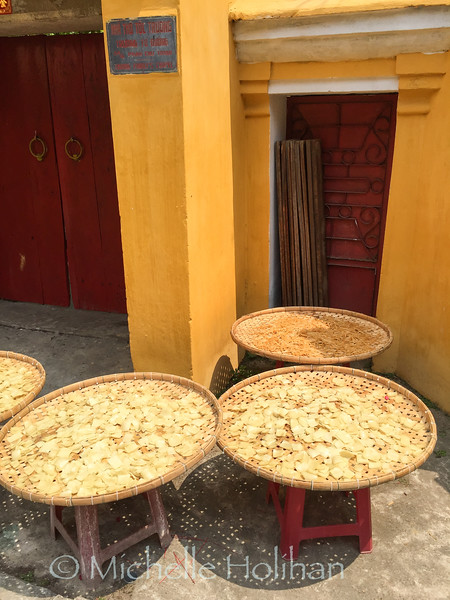 "Locally made ""Special Noodles"" drying in an alley in Hoi An, Vietnam"