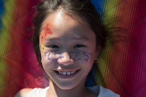 DAVID LIPNOWSKI / WINNIPEG FREE PRESS   Avery Au ( age 8) attends her 9th folk fest at Birds Hill Park Sunday July 10, 2016.
