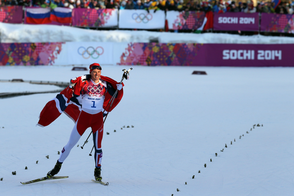 . Ola Vigen Hattestad of Norway wins the gold medal during the Cross-Country Men\'s & Women\'s Sprint at the Laura Cross-country Ski & Biathlon Center on February 11, 2014 in Sochi, Russia. (Photo by Christophe Pallot/Agence Zoom/Getty Images)