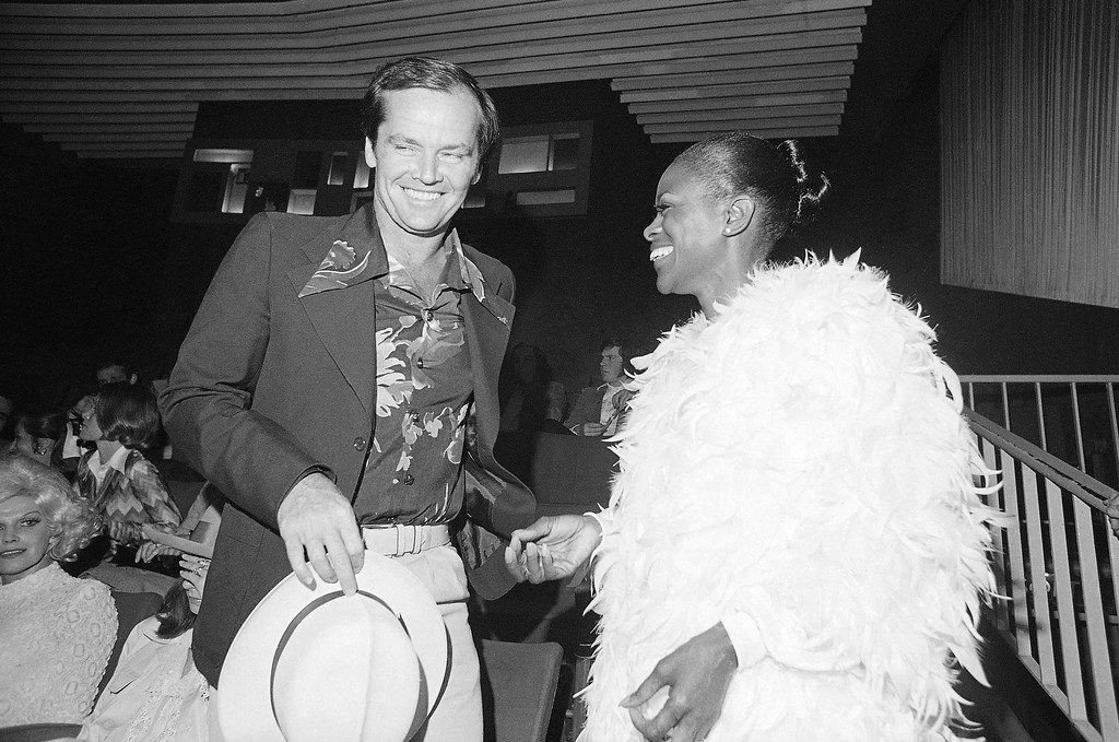 ". American actor Jack Nicholson left meets Cicely Tyson before the screening of  ""The Autobiography of Miss Jane Pittman\""  at the Cannes International Film Festival, May 13, 1974 in Paris. (AP Photo/ Jean Jacques Levy)"