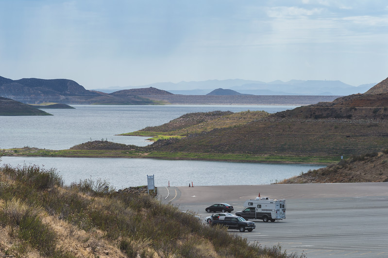 Diamond Valley Lake at 40 percent capacity in early August 2015 during the ongoing drought.