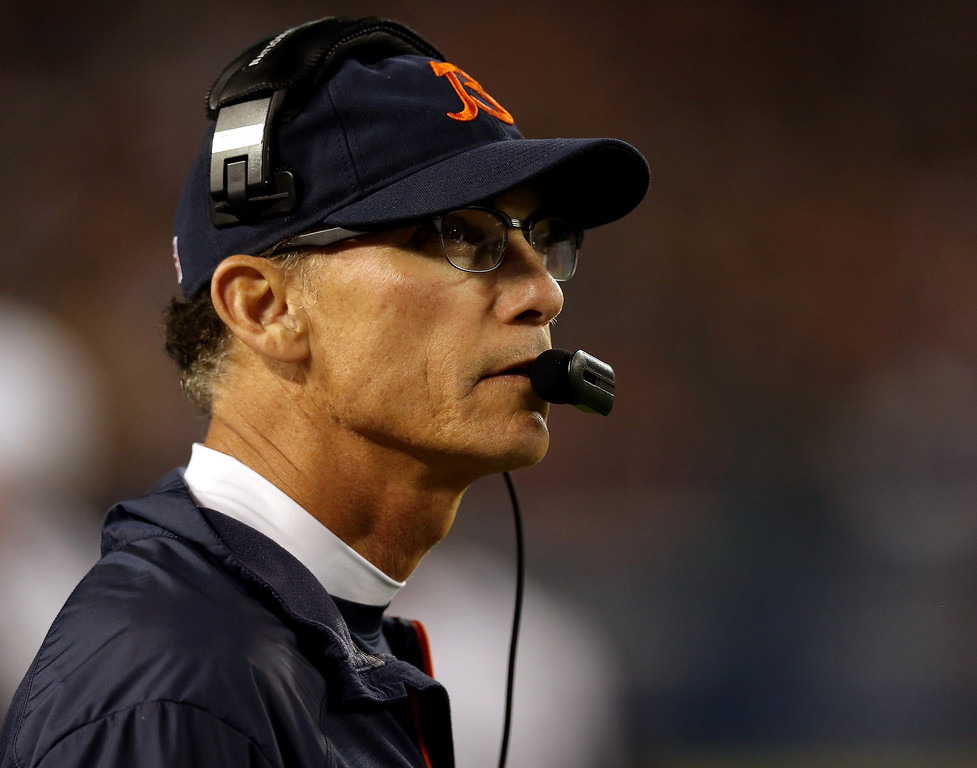 . Head coach Marc Trestman of the Chicago Bears looks on against the New York Giants during a game at Soldier Field on October 10, 2013 in Chicago, Illinois.  (Photo by Jonathan Daniel/Getty Images)
