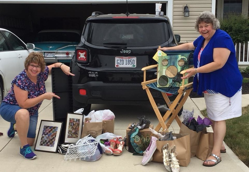 Fran and Margie -- a great haul thrifting!  July 20, 2018