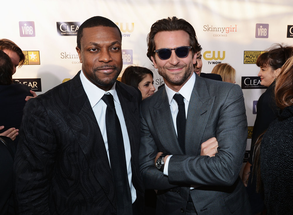 Description of . Actors Chris Tucker and Bradley Cooper attend the 18th Annual Critics' Choice Movie Awards held at Barker Hangar on January 10, 2013 in Santa Monica, California.  (Photo by Larry Busacca/Getty Images for BFCA)