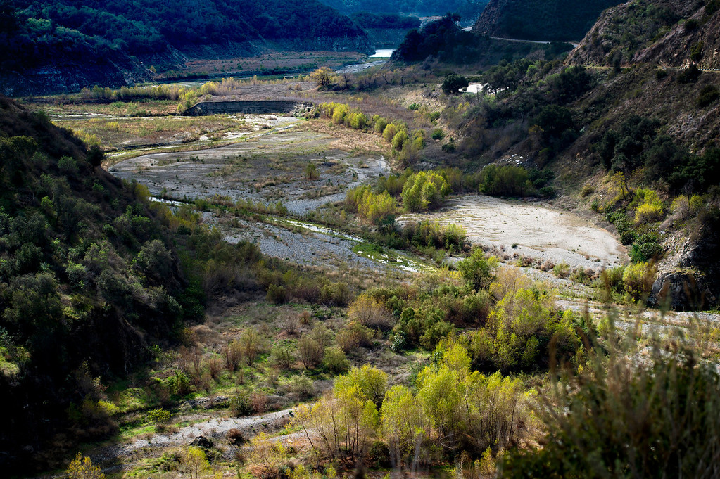 . Dried patches of the San Gabriel River just south of San Gabriel Dam in Angeles National Forest on Friday, Feb. 7, 2014 show the effects of the prolonged drought. (Photo by Watchara Phomicinda/ San Gabriel Valley Tribune)