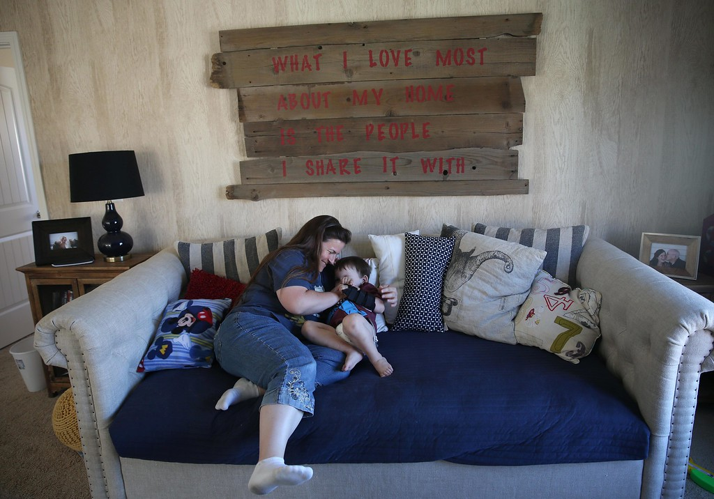 . Matthew Ouimet, 3, plays with his mom Kristi at their home in Antioch, Calif., on Thursday, May 22, 2014.  (Jane Tyska/Bay Area News Group)