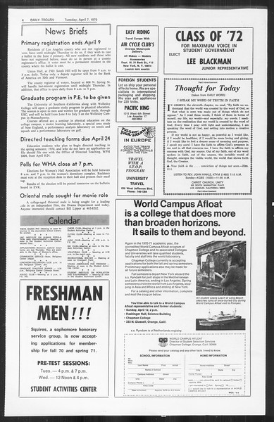 Daily Trojan, Vol. 61, No. 100, April 07, 1970