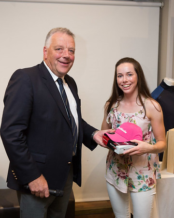 Kate Sullivan, Winner of the Junior Girls section of The 9-Hole Ladies Competition receives her prize from Peter