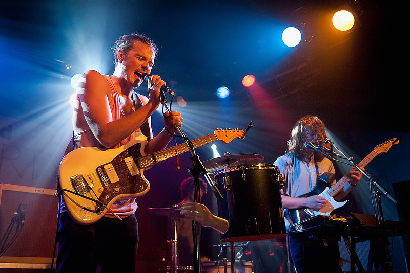 . CHICAGO, IL - AUGUST 01:  (L-R) Devon Portielje and Conner Molander of Half Moon Run perform at the Billboard Lollapalooza 2013 Pre-Party at the Double Door on August 1, 2013 in Chicago, Illinois.  (Photo by Erika Goldring/Getty Images)