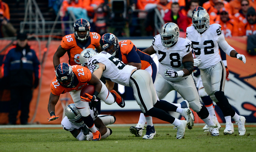 . DENVER, CO - DECEMBER 28: C.J. Anderson (22) of the Denver Broncos gains eight yards during the first quarter.  The Denver Broncos played the Oakland Raiders at Sports Authority Field at Mile High in Denver on December, 28 2014. (Photo by Joe Amon/The Denver Post)