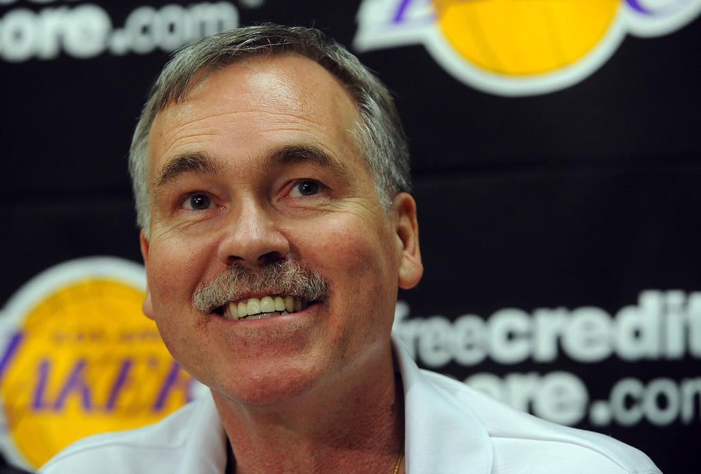 . EL SEGUNDO - 02/19/13 - (Photo: Scott Varley, Los Angeles Newspaper Group)  At the Lakers practice facility in El Segundo, Lakers players and staff reflect on the passing of long-time owner Dr. Jerry Buss. Lakers coach Mike D\'Antoni talks about the legacy of Jerry Buss, even though D\'Antoni had never personally met Buss.