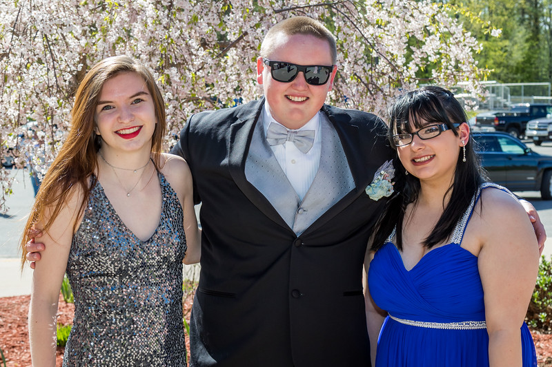 Lauren Robbins, Benjamin Fowler and Ashley Martin, left to right, attend the Epping High School Prom Friday in Epping. [Scott Patterson/Seacoastonline]