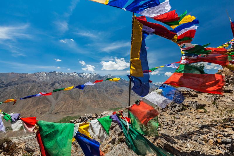 Buddhist prayer flags (lungta) in Spiti Valley, Himachal Pradesh, India