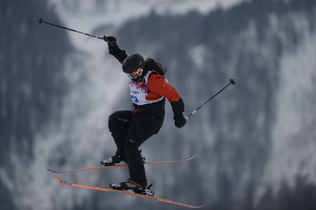 . Anna Mirtova of Russia falls while competing in the Freestyle Skiing Women\'s Ski Slopestyle Qualification on day four of the Sochi 2014 Winter Olympics at Rosa Khutor Extreme Park on February 11, 2014 in Sochi, Russia.  (Photo by Mike Ehrmann/Getty Images)