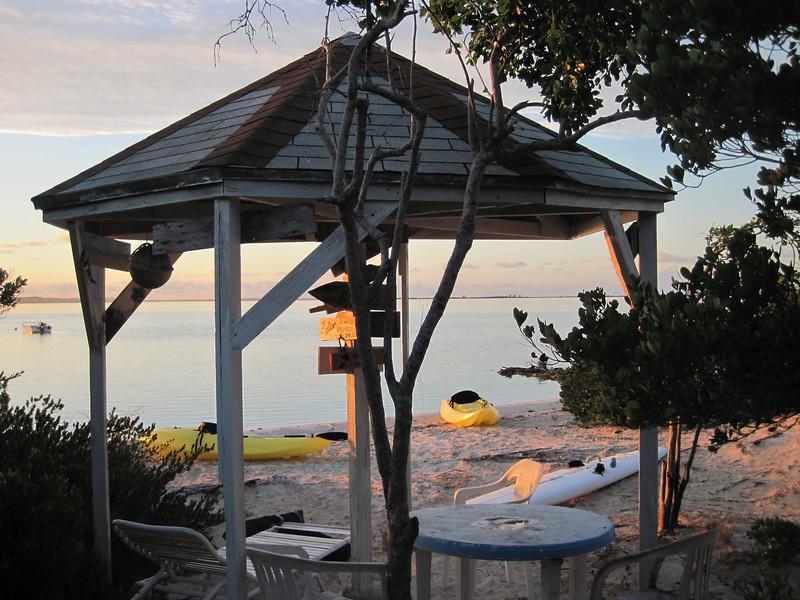 Gazebo at the beach at sunrise