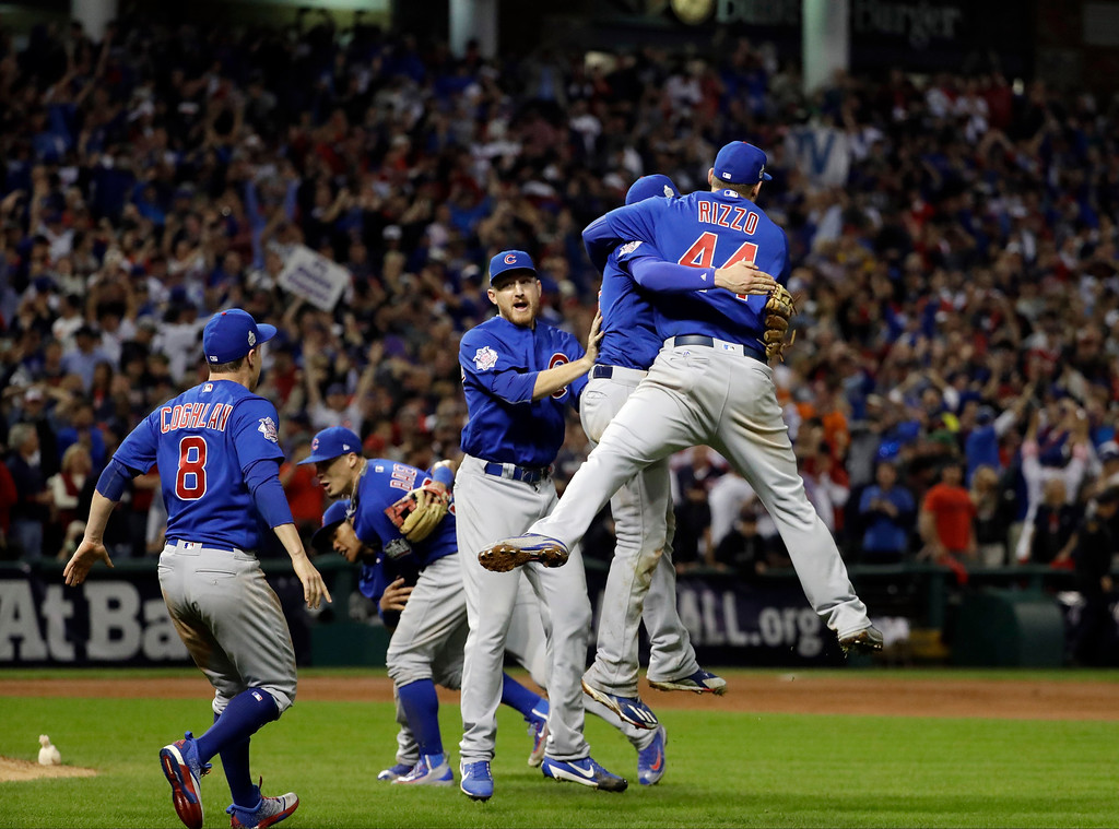 . The Chicago Cubs celebrate after Game 7 of the Major League Baseball World Series against the Cleveland Indians Thursday, Nov. 3, 2016, in Cleveland. The Cubs won 8-7 in 10 innings to win the series 4-3. (AP Photo/David J. Phillip)