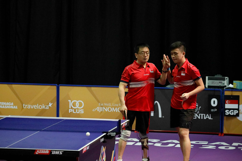 PARA TABLE TENNIS - Singapore's MU YU GUANG & HARRISON GAN ZHI HAO Men Team celebrating the moment  - Class 10 Round Robin Match against Team Indonesia at MITEC Hall 7 on September 17th, 2017 (Photo by Sanketa Anand)