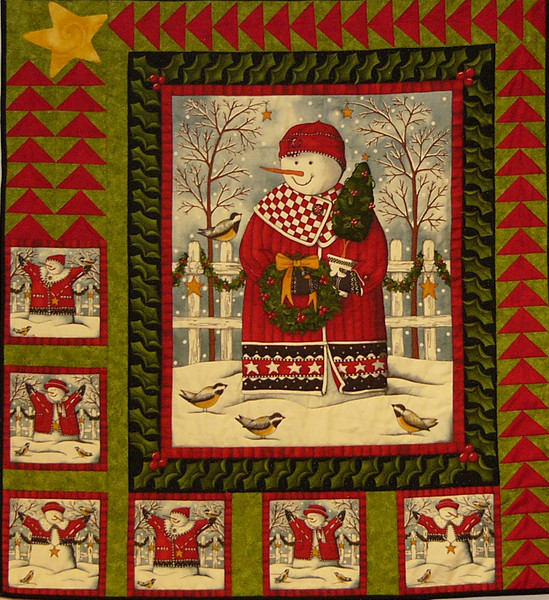 Snow Man Panel by Corinne Schroeder.  Kits available at the shop-Sold out