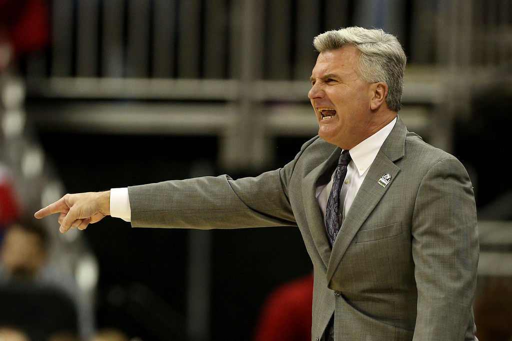 . KANSAS CITY, MO - MARCH 22:  Head coach Bruce Weber of the Kansas State Wildcats reacts in the first half against the La Salle Explorers during the second round of the 2013 NCAA Men\'s Basketball Tournament at the Sprint Center on March 22, 2013 in Kansas City, Missouri.  (Photo by Ed Zurga/Getty Images)